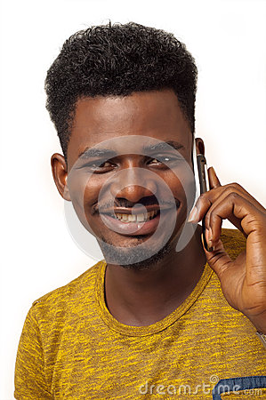 Afro man on phone