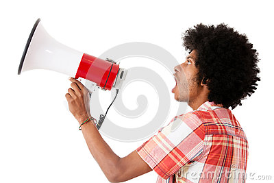 Afro man screaming with a megaphone