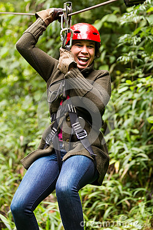Free Afro Woman On Zip Line Close Up Portrait Royalty Free Stock Photos - 61155238