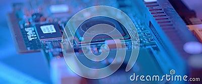 Afsluiten van de elektronische printplaat Macro geïntegreerd, communicatie stock videobeelden