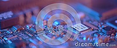 Afsluiten van de elektronische printplaat Macro geïntegreerd, communicatie stock video