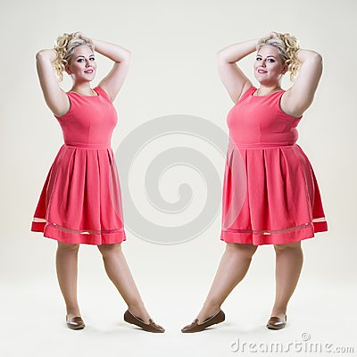 Free After Before Loss Weight Concept, Happy Plus Size Fashion Model, Sexy Fat And Slim Woman Royalty Free Stock Images - 105180149