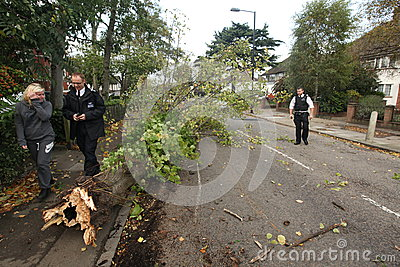 Aftermath of St Jude storm Editorial Stock Photo