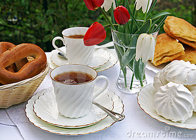 Afternoon tea in a summer garden