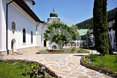 Agapia orthodox monastery courtyard