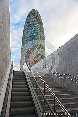The Agbar Tower, Barcelona, Spain. Editorial Stock Photo