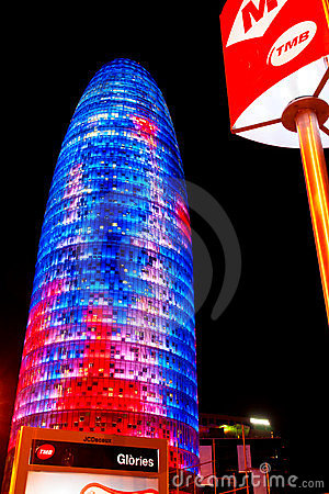 The Agbar Tower, Barcelona, Spain. Editorial Stock Image