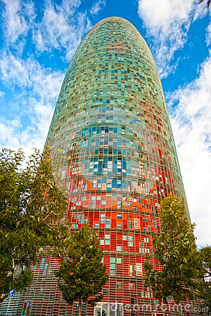 The Agbar Tower, Barcelona, Spain. Editorial Photo