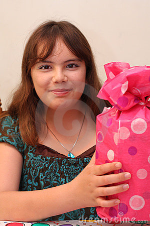 Free Age 13 Birthday Teen Girl With Gift Royalty Free Stock Images - 9304199