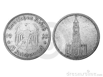 Age-old 5-reichsmark coin in grayscale