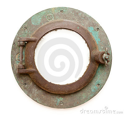 Aged Antique Ship Porthole Isolated with Paths