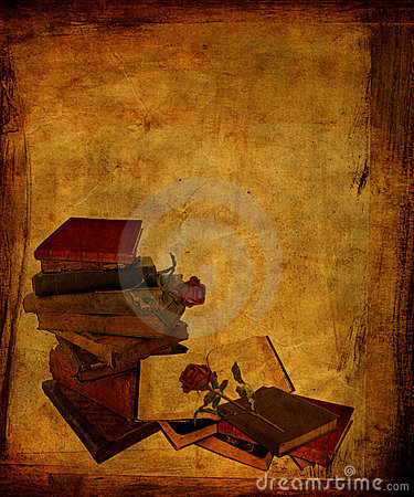 Aged Books and Roses