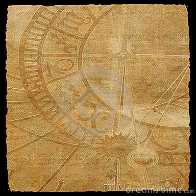 Aged canvas texture with zodiac clock texture