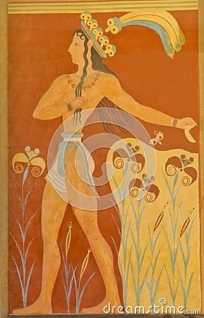 Aged fresco of warrior Editorial Photo