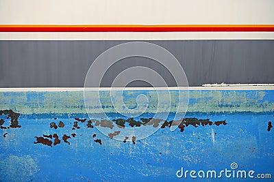 Aged grunge boat iron rusty blue hull