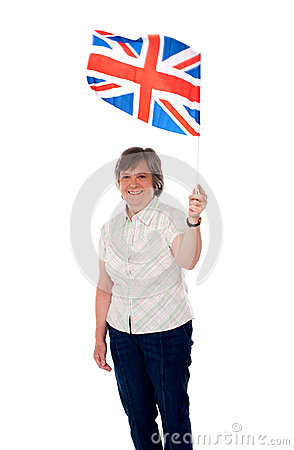 Aged lady with a union jack