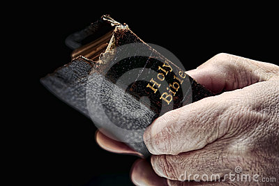Aged Man Hands Holding Old Antique Holy Bible Book