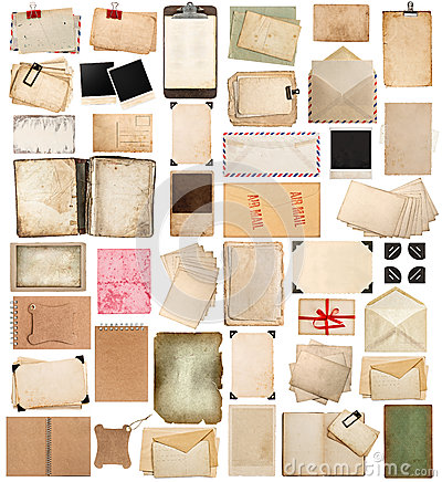 Free Aged Paper Sheets, Books, Pages And Old Postcards Isolated On Wh Stock Photos - 45202693