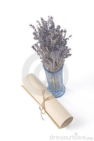Aged scroll and dried lavender