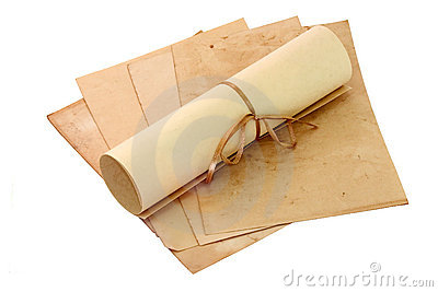 Aged sheets and scroll