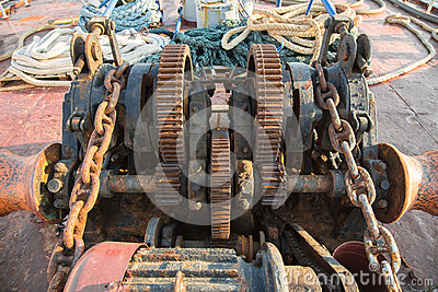 Aged technology: Old and rusty gearwheel on an old ship - retro