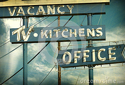 Aged vintage neon sign