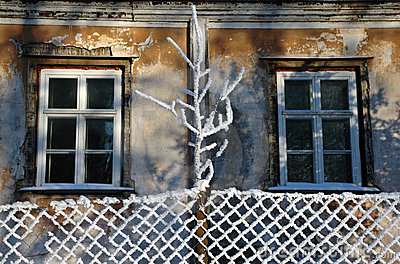 Aged windows at winter