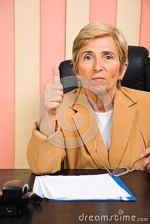 Aged woman give thumb up
