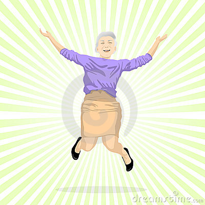 Aged woman jumping of joy