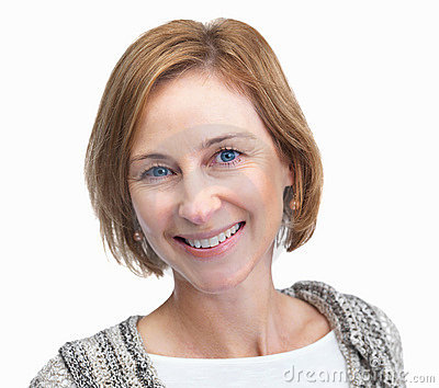 Aged woman smiling isolated on white backgrou