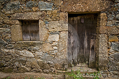Aged wooden door and window