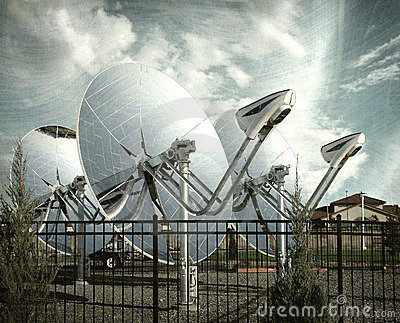 Aged and worn photo of parabolic dish