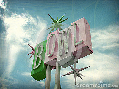 Aged and worn vintage bowl sign