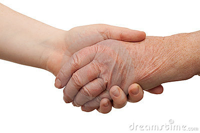 Ageing - handshake between young and old