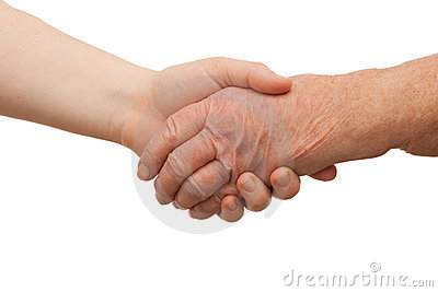 Ageing - Handshake between young and old women