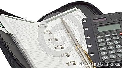 Agenda, calculator and pen