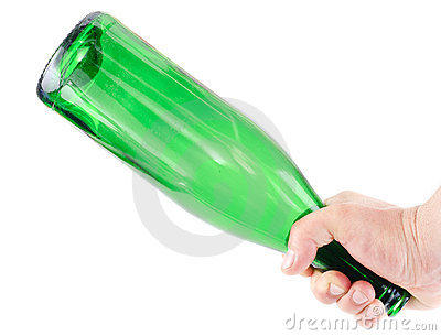 Aggression.Arm hold  green  bottle