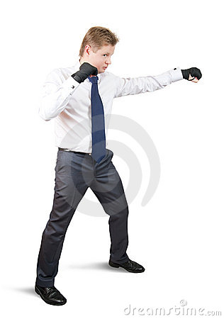 Aggressive businessman boxer