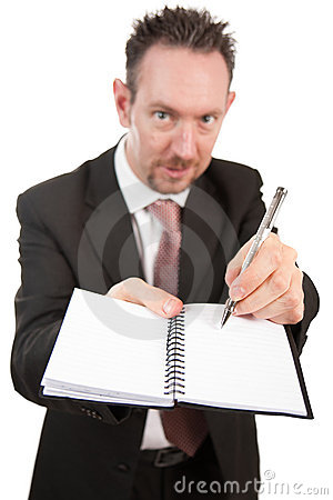 Aggressive Businessman with Notebook and Pen