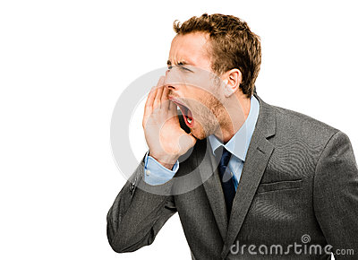 Aggressive businessman shouting on white background