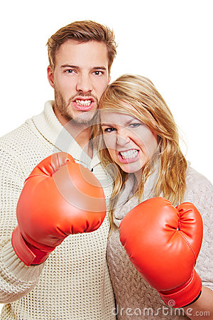 Aggressive couple with boxing