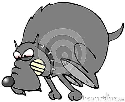 Cartoon angry dog running