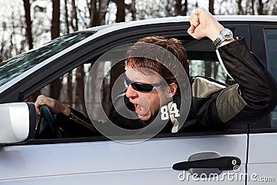 Aggressive driver swearing