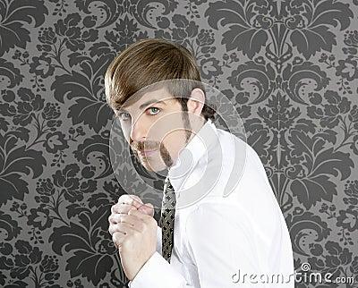 Aggressive funny retro mustache businessman