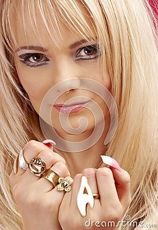 Aggressive golden jewelry girl