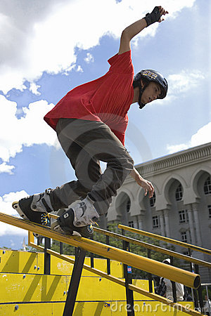 Aggressive Inline Skating (Handrail) Action Editorial Photo