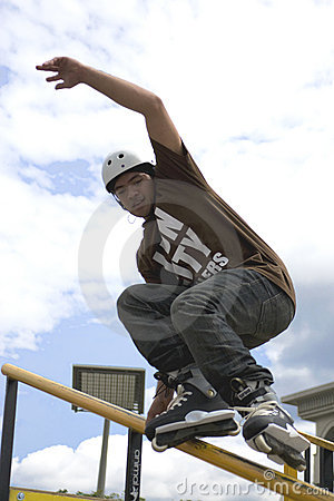Aggressive Inline Skating (Handrail) Action Editorial Stock Photo