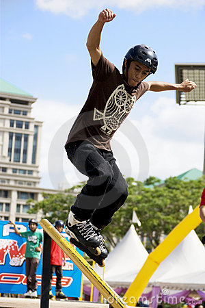 Aggressive Inline Skating (Handrail) Action Editorial Image