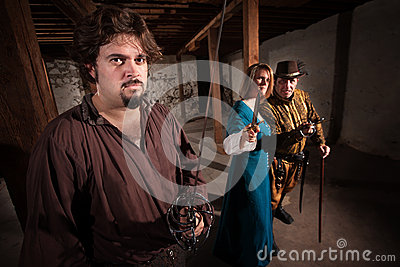 Aggressive Medieval Characters Stock Photos - Image: 30050083