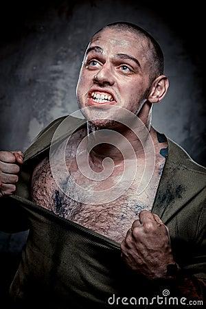Aggressive muscular young man